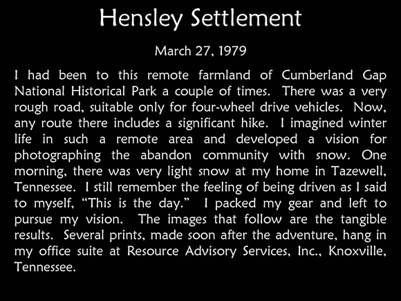 Hensley Settlement 1979 Story
